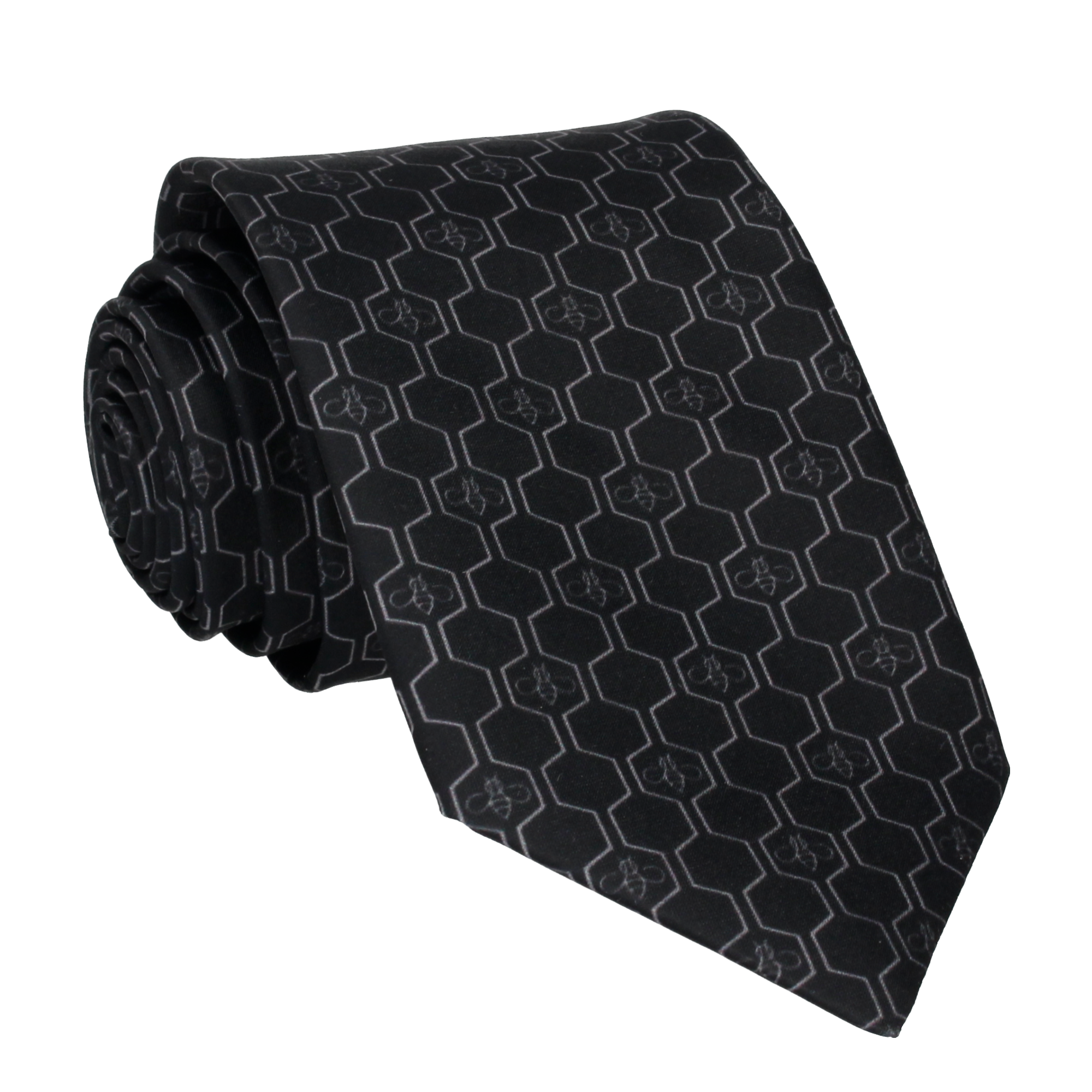 Geo Honeycomb in Black & Grey Tie