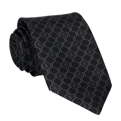 Grey Geo Honeycomb Bee Black Tie