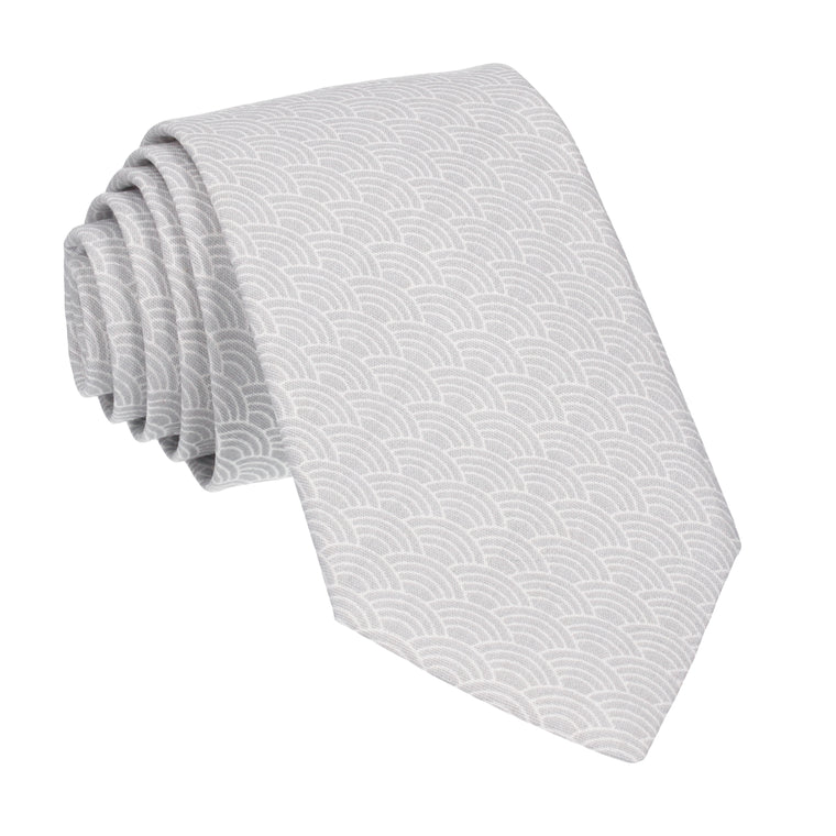 Grey Art Deco Fans Cotton Tie