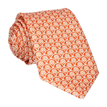 Sunset Orange Lotus Fans Tie