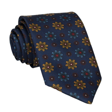 Navy Blue Medallion Tie