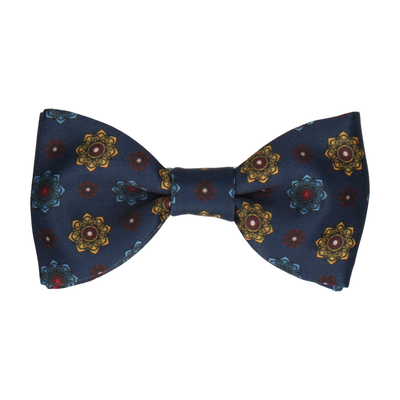 Navy Blue Medallion Bow Tie