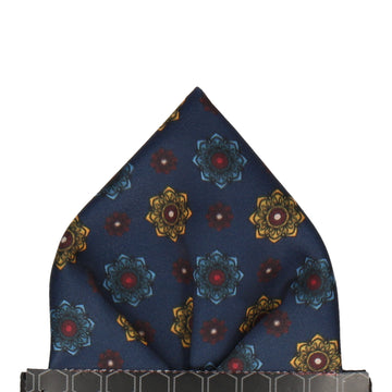 Bloomberg Navy Blue Medallion Pocket Square