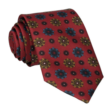 Burgundy Red Medallion Tie