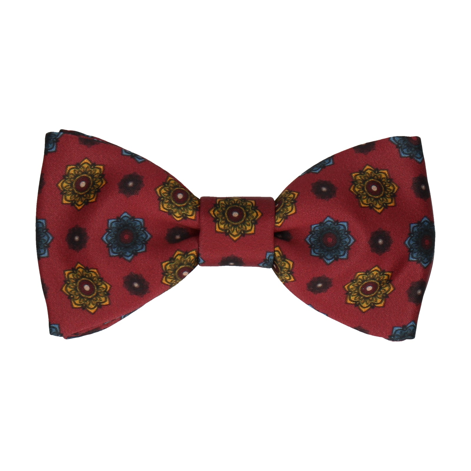 Burgundy Red Medallion Bow Tie