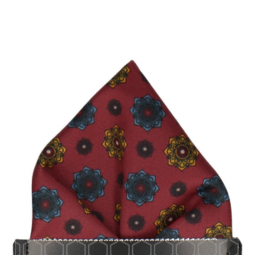 Burgundy Red Medallion Pocket Square