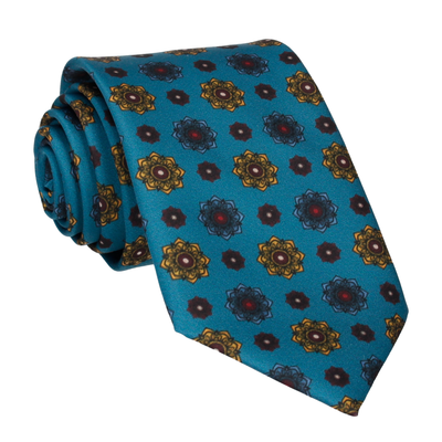 Emerald Sea Teal Medallion Sea Tie
