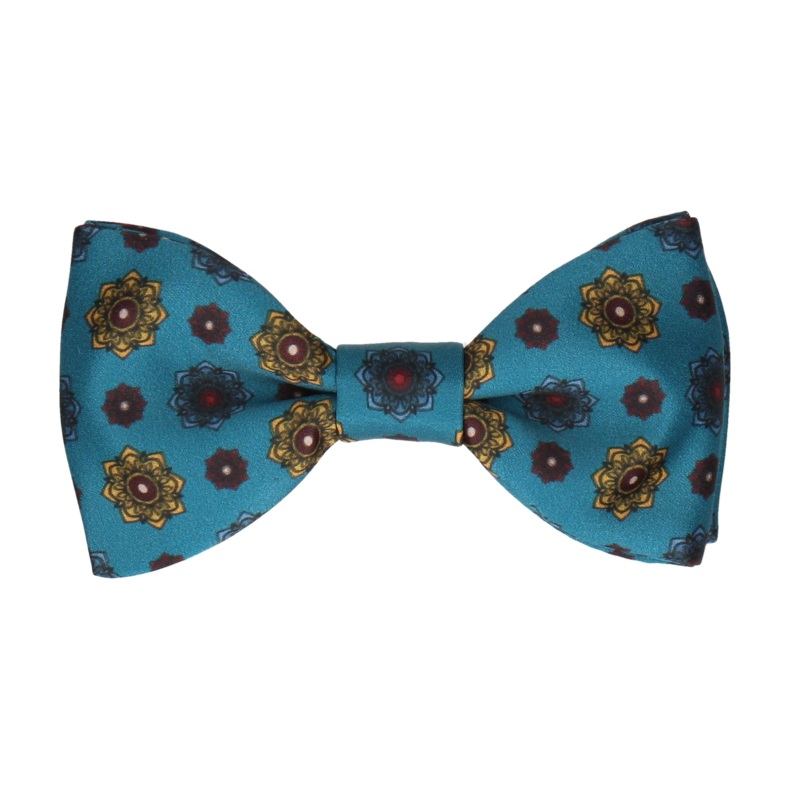 Emerald Sea Teal Medallion Bow Tie
