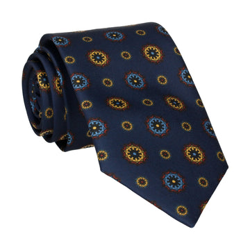 Navy Blue Classic Medallion Tie