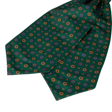 Dark Green Classic Medallion Ascot Cravat