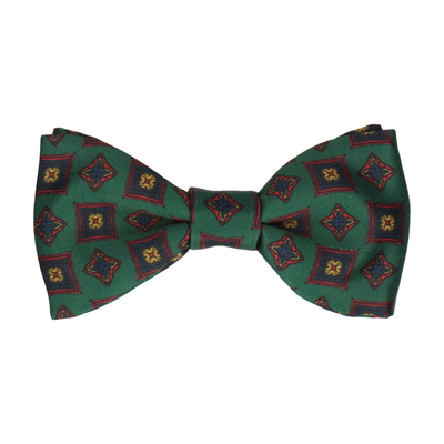 Dark Green Vintage Medallion Print Bow Tie