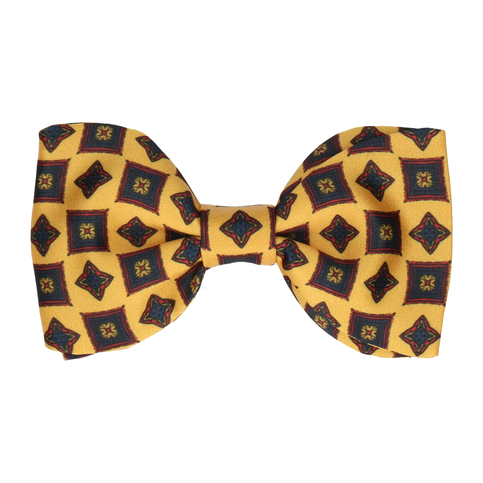 Mustard Yellow Vintage Medallion Print Bow Tie