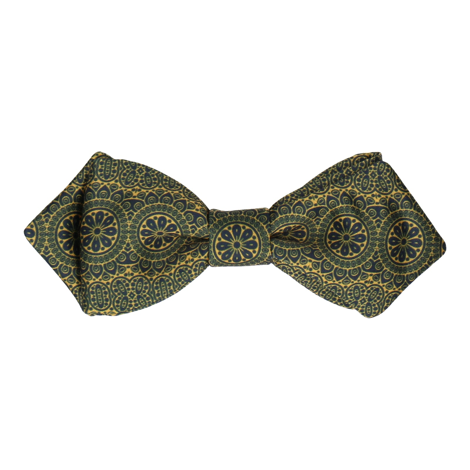 Detailed Navy Blue & Gold Bow Tie