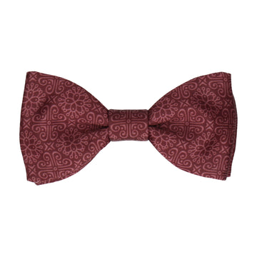 Burgundy Red Grecian Pattern Bow Tie
