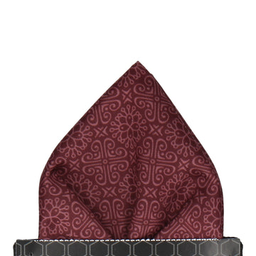 Burgundy Red Grecian Pattern Pocket Square