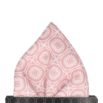 Pink & White Geo Floral Pattern Pocket Square