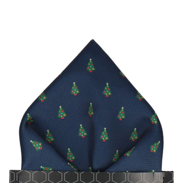 Christmas Tree Polka Navy Pocket Square