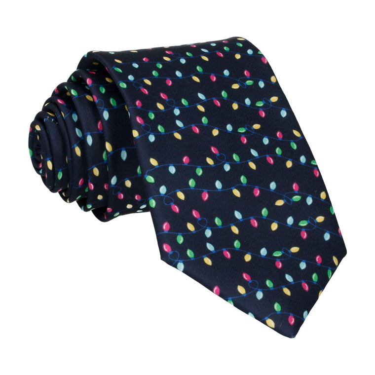 Navy Blue Christmas Lights Tie