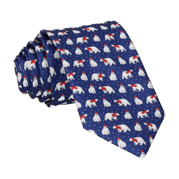 Christmas Polar Bears Blue Tie