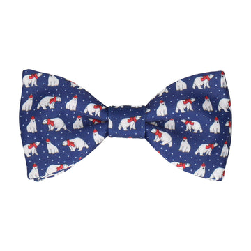 Christmas Polar Bears Blue Bow Tie