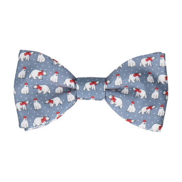 Christmas Polar Bears Silver Blue Bow Tie