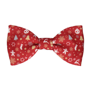 Ditsy Christmas Red Bow Tie