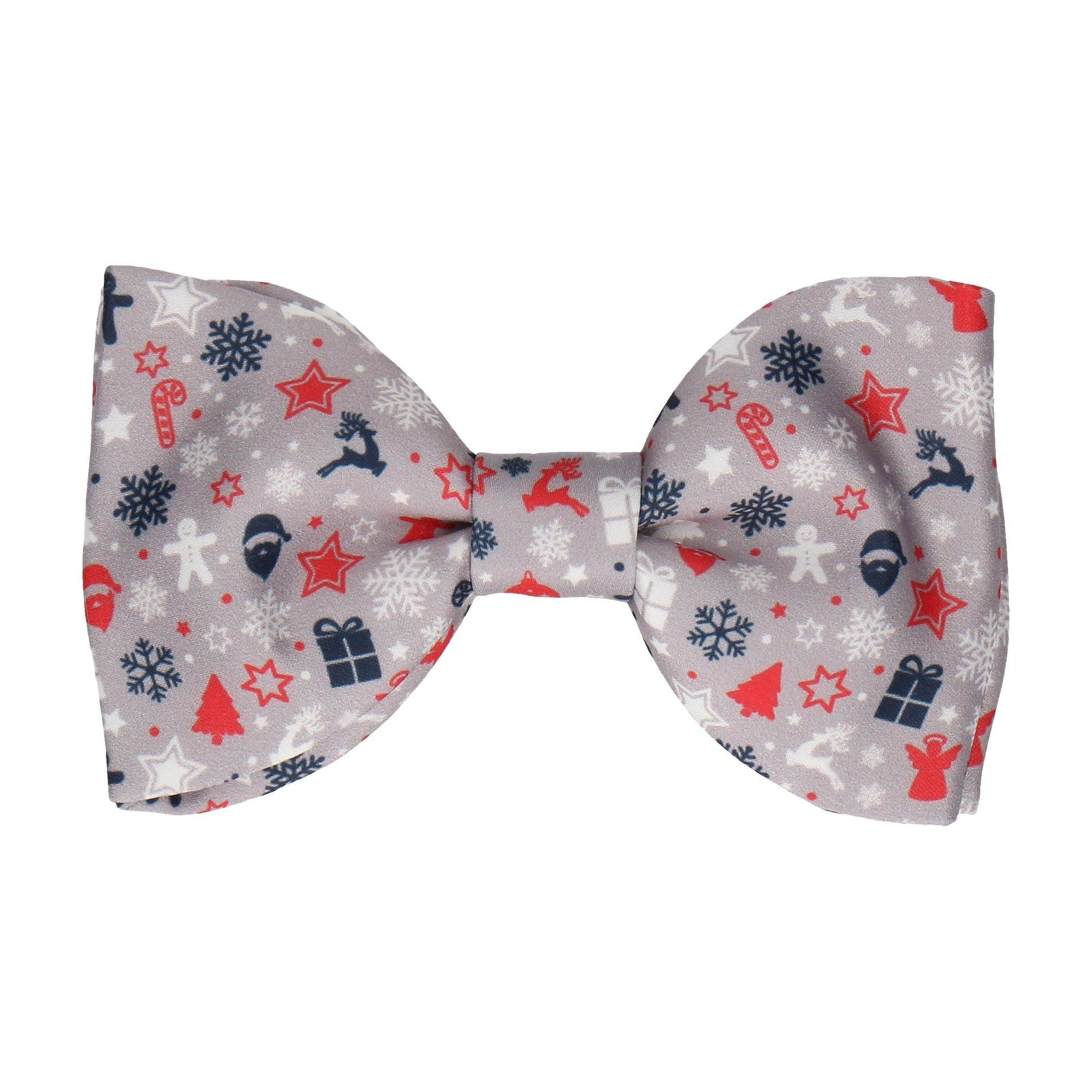 Ditsy Christmas Silver Bow Tie