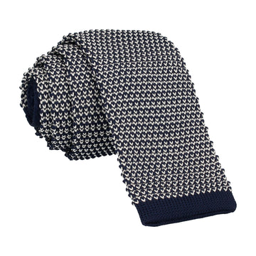 Navy White Weave Knitted Tie