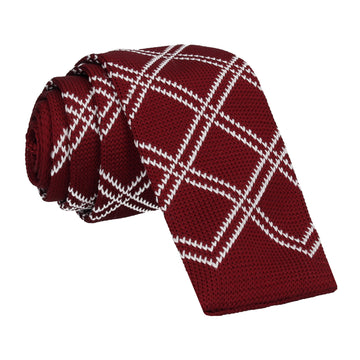 Burgundy Red Plaid Knitted Tie