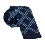 Navy Blue Plaid Knitted Tie