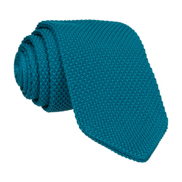 Teal Green Point Knitted Tie