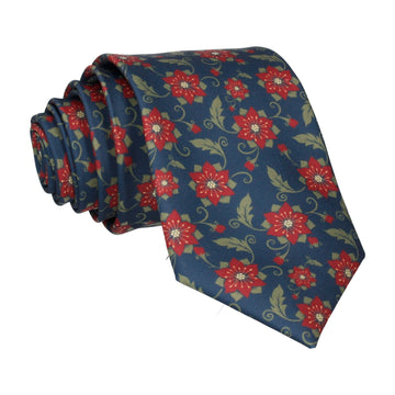 Poinsettia in Navy Tie