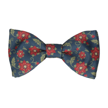 Poinsettia in Navy Blue Bow Tie