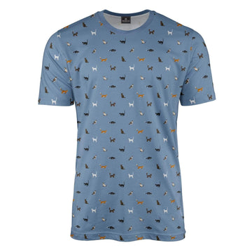 Blue Cat Print T-Shirt