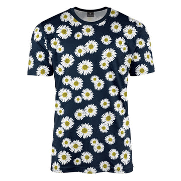Navy Blue Daisy Print T-Shirt