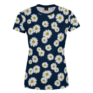 Navy Blue Daisy Print Women's T-Shirt
