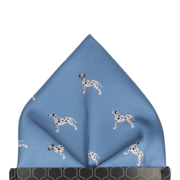 Blue Dalmatian Print Pocket Square