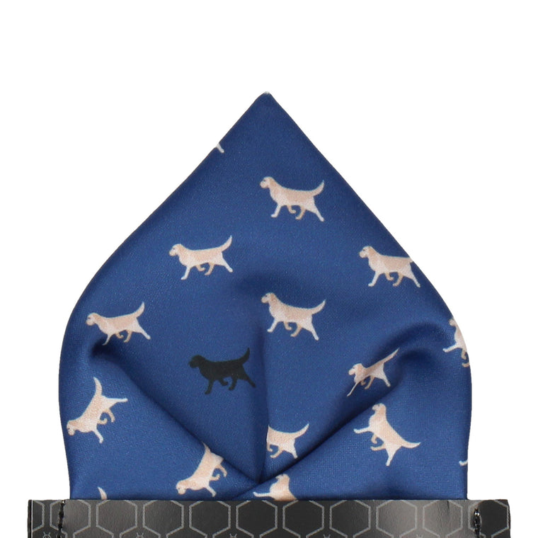 Blue Labrador Print Pocket Square
