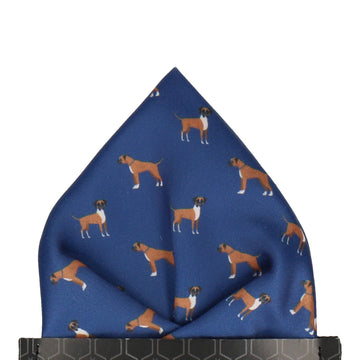 Blue Boxer Print Pocket Square