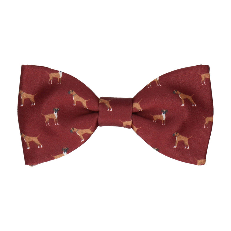 Boxer Dog Print Maroon Red Bow Tie