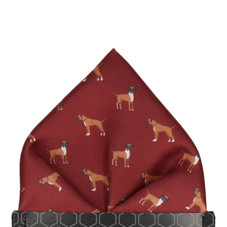 Boxer Dog Print Maroon Red Pocket Square