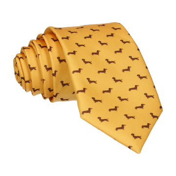 Dachshund Yellow Dog Print Tie