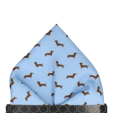 Blue Dachshund Pocket Square
