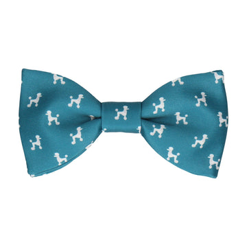Teal Poodle Bow Tie