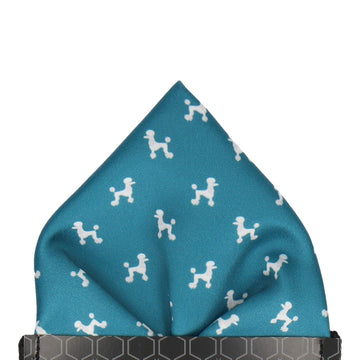 Teal Poodle Dog Print Pocket Square