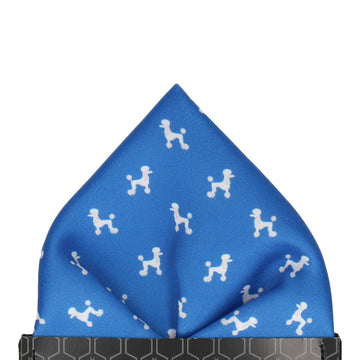 Blue Poodle Pocket Square