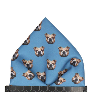 Blue Bulldog Face Pocket Square