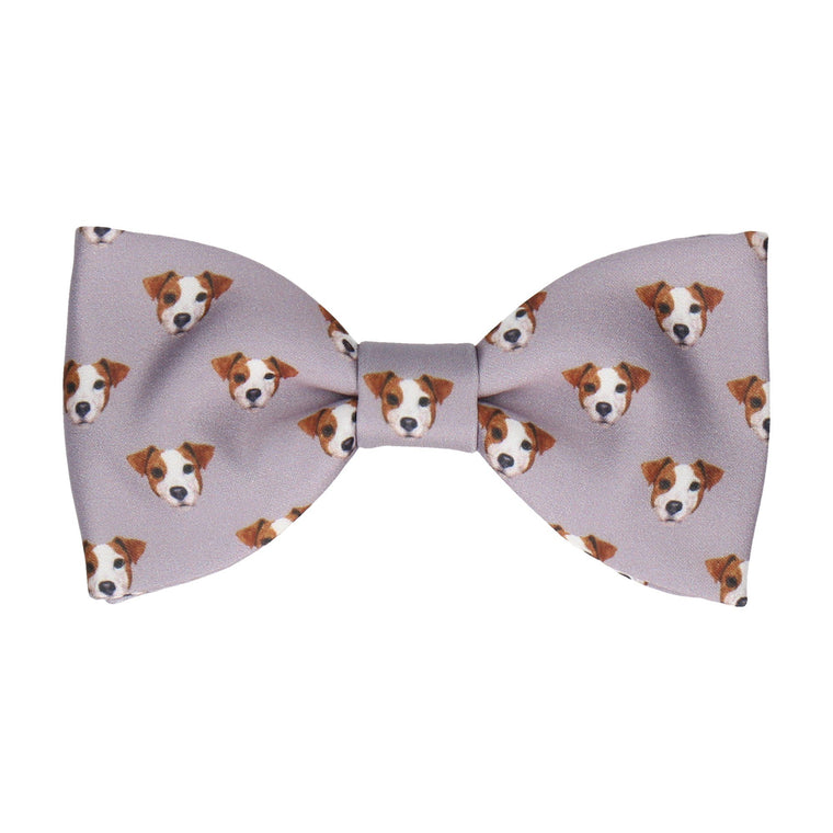 Jack Russell Face Grey Bow Tie