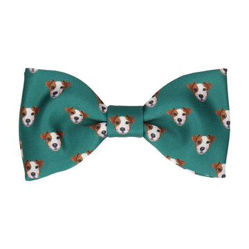 Green Jack Russell Face Bow Tie