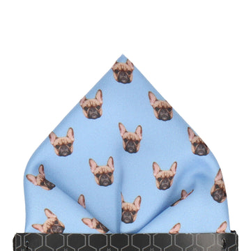 Blue French Bulldog Face Pocket Square